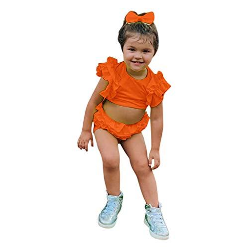 LEXUPE Neugeborene Kinder Baby Jungen Mädchen Ärmellose Solid Ruffle T-Shirt Shorts Outfits Set(Orange,80)
