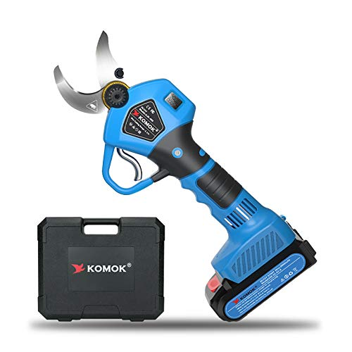 KOMOK Professional Cordless Electric Pruning Shears with LED Screen, 2PCS Backup Rechargeable 2Ah Lithium Battery Powered Tree Branch Pruner, 30mm (1.2Inch) Cutting Diameter, 6-8 Working Hours(Blue)