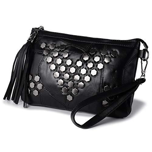Kleine Zwarte Lederen Cross Body Handtas voor Vrouwen - Bezaaid Schouder Tas - Avond Bruiloft Kwastje Clutch Tas met Polsriem