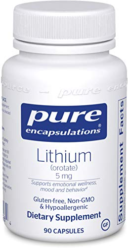 Pure Encapsulations - Lithium (Orotate) 5 mg - Hypoallergenic Supplement Supports Healthy Mood, Emotional Wellness, Behavior and Memory - 90 Capsules