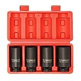 CASOMAN 1/2-Inch Drive Deep Spindle Axle Nut Impact Socket Set,12 Point, Metric, CR-MO, 30,32,34,36mm, 4-Piece 1/2' Heavy Duty Impact Socket Set