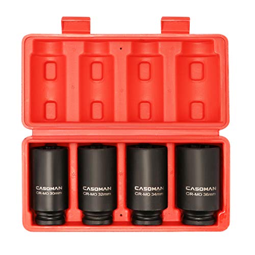 CASOMAN 1/2-Inch Drive Deep Spindle Axle Nut Impact Socket Set,12 Point, Metric, CR-MO, 30,32,34,36mm, 4-Piece 1/2' Heavy Duty Impact Socket Set
