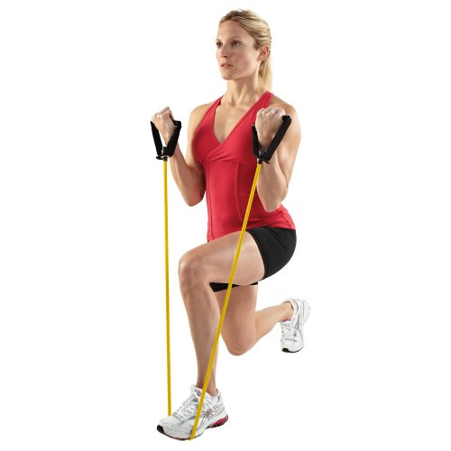 SPRI Xertube Resistance Bands Exercise Cords w/Door Attachment, Yellow, Very Light