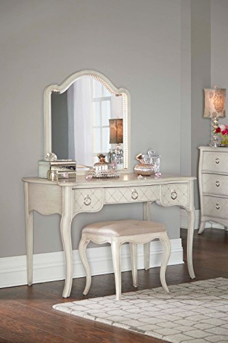 Great Price! NE Kids Angela 3 Piece Vanity Desk with Lighted Mirror & Upholstered Bench Set in Opal ...