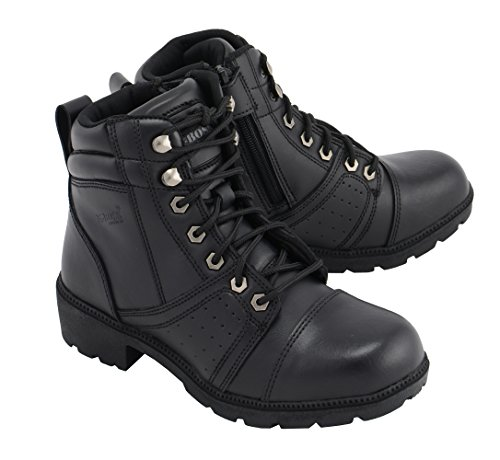 M Boss Motorcycle Apparel BOS49302 Ladies 6 Inch Black Accelerator Leather Motorcycle Boots - 6.5