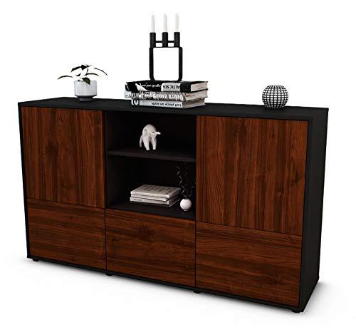 Stil.Zeit Sideboard Diellza/Korpus anthrazit matt/Front Holz-Design Walnuss (136x79x35cm) Push-to-Open Technik