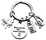 Piano Keychain Piano Teacher Gift Music Keychain Music Teacher Gift Music Note Musical Instrument Piano Keyboard Charm Music Student Gift When Words Fail Music Speaks Key Ring