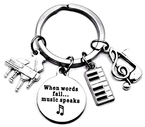 Piano Keychain Piano Teacher Gift Music Keychain Music Teacher Gift Music Note Musical Instrument Piano Keyboard Charm Music Student Gift When Words Fail Music Speaks Key Ring