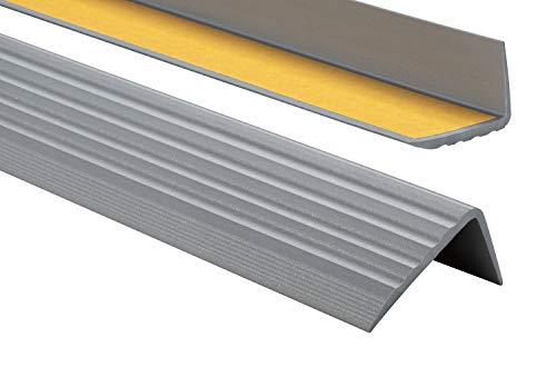 PVC Treppenkantenprofil Selbstklebend Winkelprofil Anti-Rutsch Treppenkante 41x25mm 1,50m, Silber