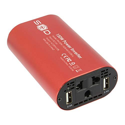 SUMEX PIN150W Convertidor Inversor Coche 150W / 300W, Corriente DC 12V 230V con 2 Puertos USB 5V 2.4 A. Onda Pura, AC para Portatil, Movil, TV, Tablet, Toma Mechero