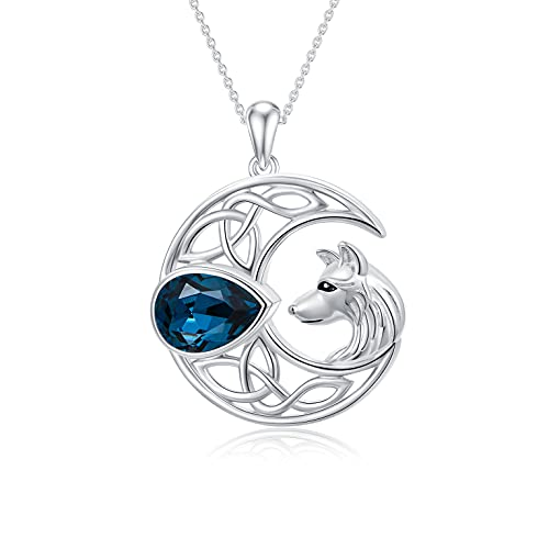 AOBOCO Wolf Necklace 925 Sterling Silver Celtic Moon Wolf Pendant Necklace Wolf Jewelry Jewelry Gifts for Women Teen Girls