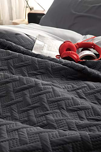 Bedsure Tagesdecke Sommerbett 150 Schwarz - Quilt...