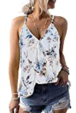 Dokotoo Womens Boho Soft Ladies Casual Spaghetti Straps Sleeveless V Neck Loose Camisole Floral Print Tanks Tops Vest Blouse Cami Shirts White Small