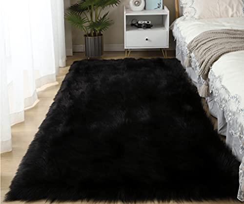 LYKEJI Alfombra mullida, Alfombra de Piel sintética, Dormitorio Sala de Estar Junto a la Cama sofá Alfombra (Negro, 60x150cm)