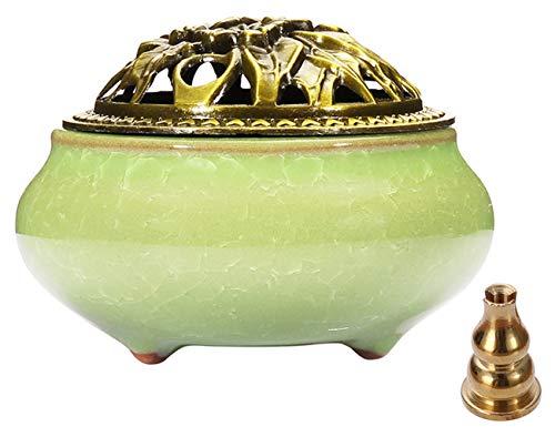 Stick Incense Burner and Cone Incense Holder with Brass Incense Stick Holder Ceramic Ash Catcher (Light Green)