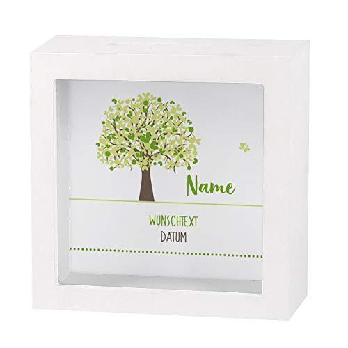 Striefchen® Spardose zur Taufe/Geburt/Kommunion/Konfirmation eines Kindes mit Namen und Geburtsdatum als Geldgeschenk Lebensbaum Neutral