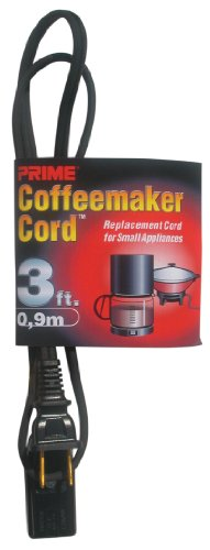 Prime HC100503 Coffee Maker and Small Appliance Power Supply Cord, Black, 3-Feet