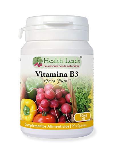 Vitamina B3 niacina/ácido nicotínico (con efecto'flush') 50mg 90 cápsulas, 3...