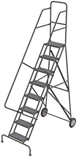 Tri-Arc KDRF108166 8-Step All-Terrain Roll and Fold Steel Industrial & Warehouse Ladder with Perforated Tread