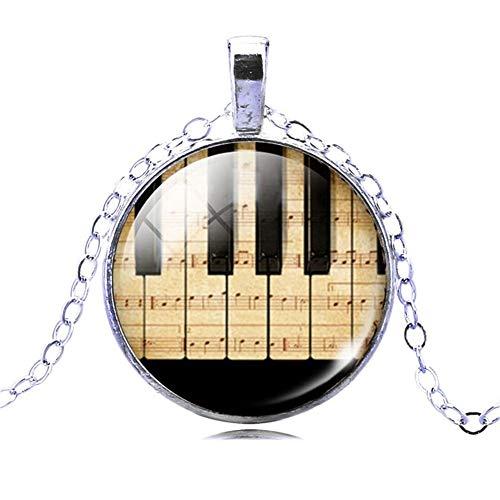 JMZDAW Halskette Anhänger Klavier Keyboard Bild Halskette Silber Anhänger Mit Halskette Sommer Style Glas Cabochon Schmuck Anhänger Mit Halskette, B