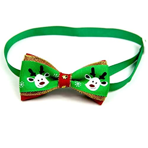 huiouer Navidad vacaciones gato perro collar pajarita ajustable correa de cuello aseo accesorios de decoración para mascotas pajarita niño