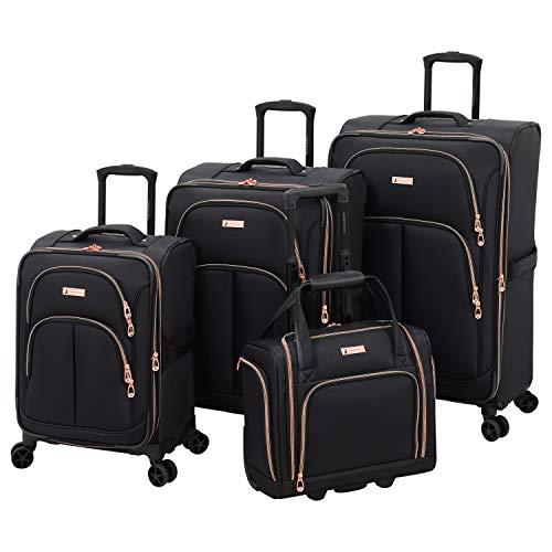 LONDON FOG Bromley Softside Expandable Spinner Luggage, black, 4-Piece...