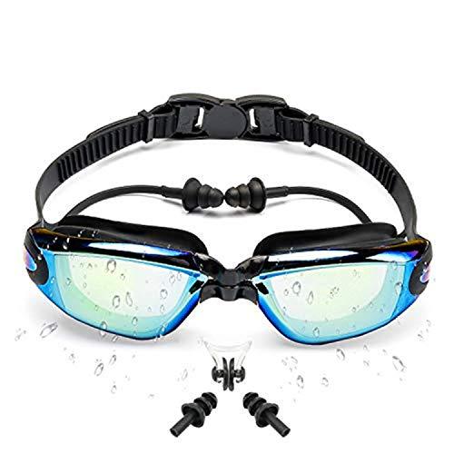 Sportout Schwimmbrille, gespiegelte Schwimmbrille, Keine auslaufende Anti-Beschlag UV-Schutzbrille, mit Nasenclip und Ohrstöpsel, für Männer, Frauen, Jugendliche und ältere Kinder (Schwarz)