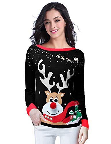 v28 Ugly Christmas Sweater for Women Reindeer Funny Merry Xmas Knit Sweaters (L, Black)