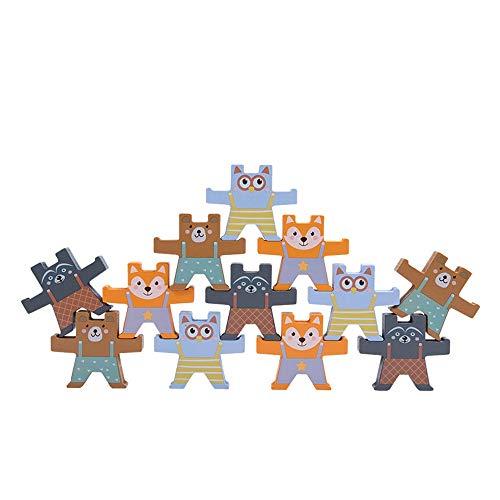 DAILYINT Holzbär Schwebebalken Spielzeug Cartoon Farbe Bauklötze Stapeln Und Stapel Hoch Eltern-Kind-pädagogische Frühe Bildung Spielzeug Jungen Und Mädchen Geschenke 3-6 Jahre Alt