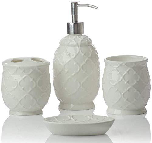 Designer 4-Piece Set di accessori per il bagno in ceramica | Include sapone liquido o dispenser lozione con portaspazzolino, bicchiere, portasapone, portasapone | marocchino a traliccio |Bianco