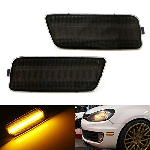 iJDMTOY Smoked Lens Amber Full LED Bumper Side Marker Light Kit Compatible With 2009-2014 Volkswagen MK6 Golf/GTI, Powered by 40-SMD LED, Replace OEM Front Sidemarker Lamps
