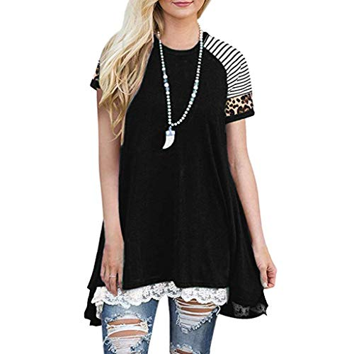 New COPPEN Women's Comfy T-Shirt, Women Casual Short Sleeve Trendy Lace Leopard Tops Blouse Flowy Tu...