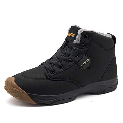 BADIER Botas de nieve para hombre en interiores y invierno cálidas zapatillas al aire libre impermeable botas de senderismo zapatos antideslizantes zapatillas de deporte, Negro (Negro), 39 EU