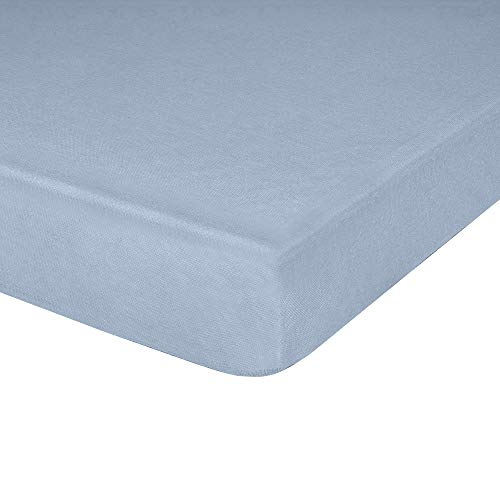 IDEAhome Jersey Knit Fitted Cot Sheet, Soft Material, Suitable for Bunk Beds, Camping, RVs, Folding Beds, Boys & Girls, 75' x 33' with 8' Pocket, Blue, 1 Pack