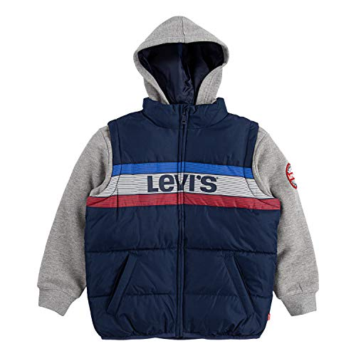 Levi's Boys' Big 2fer Puffer Jacket, Dress Blues Logo, S