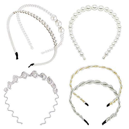 Perlen Stirnbänder Weiß Faux Perle Strass Haarband, 6 Stück Perle Haarreifen Damen, Elegante Pearl Haarreifen, für Frauen Mädchen Hochzeit Party Haarschmuck und Alltag (6 Verschiedene Designs)