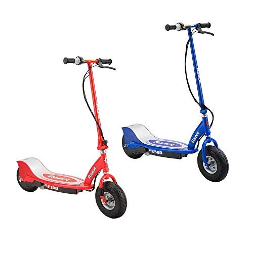 Razor E300 Ride On Electric Powered 24 Volt Motorized Rechargeable Kids Scooter - Speeds up to 15 MPH, Red & Blue (2 Pack)