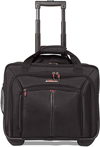 17' Aerolite Cabin Sized Laptop Bag with Wheels Roller Case Business Rolling Carry On Trolley Black
