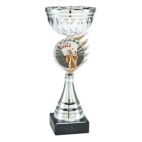Skat/Poker Pokal mit Gravur 26 cm Trophäe mit Karten als Emblem und Gravurschild in Gold