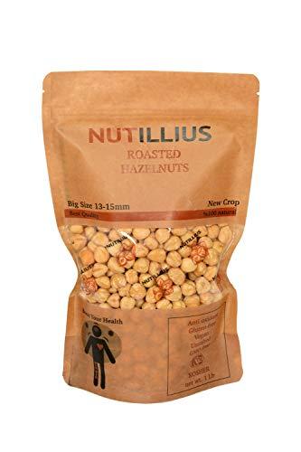 NUTILLIUS - Premium Quality 1Lb Roasted Hazelnut, Resealable Bag, Gluten Free, Vegan, Unsalted, Gmo Free, Kosher Certified, Healthy Snack, 13-15mm Size