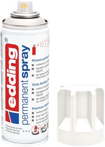 edding 5200-922 - Spray de pintura acrílica de 200 ml, secado rápido sin burbujas, color blanco tráfico mate