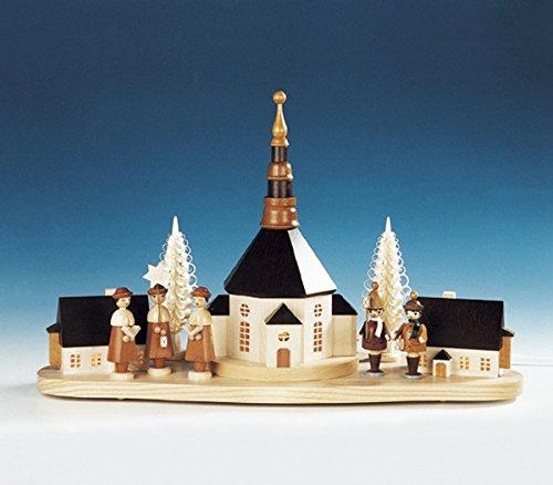 Rudolphs schatkist kersensokkel kerstberg kerk met grote kerstboom en lantaarns - elektrische verlichting - hout - breedte 52 cm - handwerk uit het Ertsgebergte