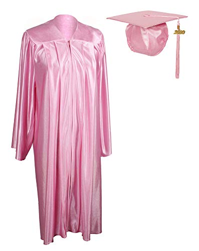 GraduationService Unisex Adult Graduation Shiny Gown Cap Tassel 2020 Year Charm Package Pink