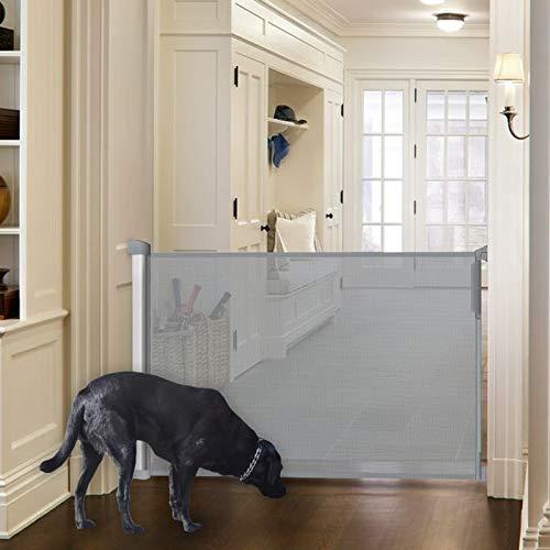 Callowesse® DELUXE - Einziehbares Tür- und Treppenschützgitter für Haustiere und Kinder 0-110 cm - Einhändige Öffnung. Aluminium Gehäuse - Farbe: Grau (1 Stück)