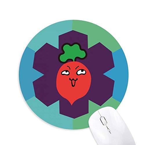 Mauspad mit süßem Cartoon-Rettich, Emoji, rund, Gummi, Blaue Schneeflocken