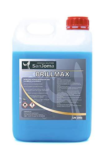 BRILLMAX Abrillantador de lavavajillas para uso profesional (Garrafa 5L). Elimina residuos, cal y acelera secado.