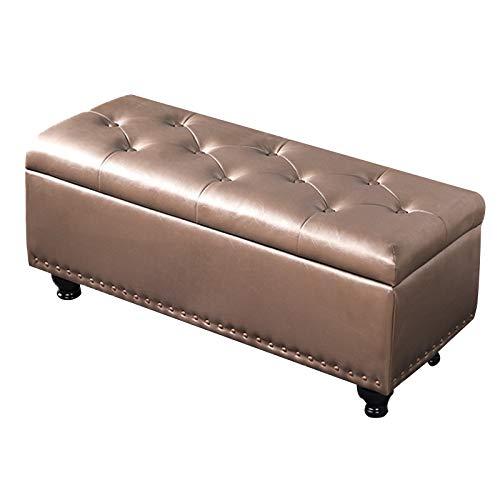 JBTM Banco con Espacio de Almacenamiento Otomana Taburete con Asiento Acolchado para Sala de Estar Dormitorio Pasillo,Champagne Gold,60cm