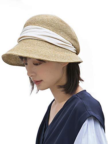 麦わら帽子 キャスケット レディース 帽子 小顔効果 つば広 折りたたみ ハット 日焼け 蒸れない 遮光 夏 春 秋