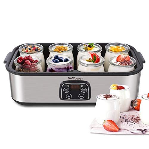 MVPOWER Yogurtiera con Timer Yogurtiera Elettrica 25W con 8 Vasetti, Yogurtiera con LED Display e Termostato