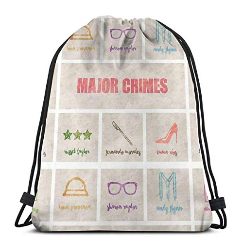 Unisex Drawstring Backpack,Major Crimes Team - Minimalistisches Poster Verstellbar Turnbeutel,Hipster Sportbeutel,Damen Herren Turnbeutel,Jugendliche Kordelzug Rucksack Tasche